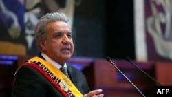 Presidente de Ecuador Lenin Moreno hablando durante su informe anual del gobierno, en el Palacio Legislativo en Quito el 24 de mayo de 2020.