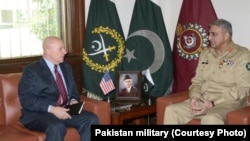 U.S. National Security Adviser H.R. McMaster meets with Pakistan army chief Gen Qamar Javed Bajwa, April 17.