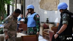 Members of the UN Supervision Mission in Syria in Damascus