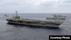 """美國海軍""""喬治.華盛頓號""""航母戰鬥群(網絡圖片)"""