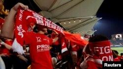 香港球迷在一場和巴林的足球友誼賽上對中國國歌發出噓聲(2017年11月9日)