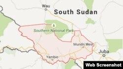 Map of Western Equatoria state in South Sudan.