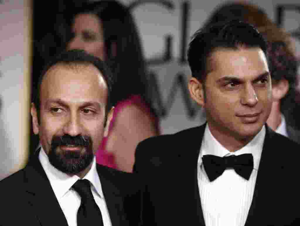 اصغر فرهادی (چپ) کارگردان و پیمان معادی (راست) بازیگر فیلم «جدایی نادر از سیمین»، نامزد بهترین فیلم غیر انگلیسی زبان و بهترین فیلمنامه غیراقتباسی