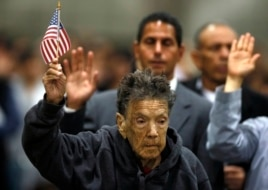 Mercedes Rosa Ruiz Mejia, 97, from Nicaragua takes the oath of citizenship in Los Angeles, California, April 16, 2013.