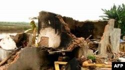 Căn nhà của gia đình ông Ðoàn Văn Vươn sau khi bị chính quyền phá hủy