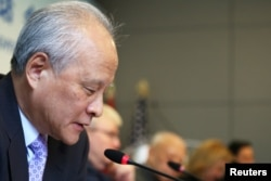 """Ambassador of the People's Republic of China to the United States Cui Tiankai speaks during the """"China and the U.S.: One Belt, One Road and 100-Day Plan,"""" a discussion hosting high-level delegation of Chinese leaders, in Manhattan, June 14, 2017."""