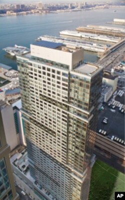 Solar panels have been installed on the roof of The Atelier, a 47-story luxury condominium complex in New York City.