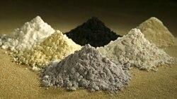 Rare earth oxides, clockwise from top center: praseodymium, cerium, lanthanum, neodymium, samarium and gadolinium