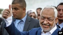 Rachid Ghannouchi, chef de file du parti islamiste modéré Ennahda à Ben Arous, en Tunisie, le dimanche 26 octobre 2014.