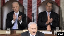 PM Israel Benjamin Netanyahu memberikan pidato di depan Kongres Amerika hari Selasa (24/5).