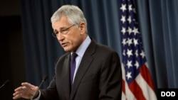 美國國防部長哈格爾,3月31日在五角大樓舉行記者會。