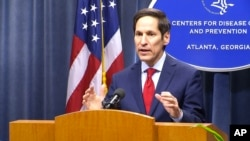 FILE - Dr. Tom Frieden, director of the U.S. Centers for Disease and Control (CDC), holds a media briefing, Sept. 2, 2014.