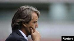 Roberto Mancini, alors entraineur de Manchester City, lors d'un match de Premier League contre Bolton Wanderers, Angleterre le 21 aout 2011REUTERS/Nigel Roddis