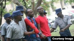 Occupy Africa Leaders Itai Dzamara (left) and Tichaona Danho (right) being detained by Zimbabwe Republic Police. File photo.