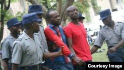 FILE: Occupy Africa Unity Square leaders Itai Dzamara (left) and Tichaona Danho (right) detained by police.