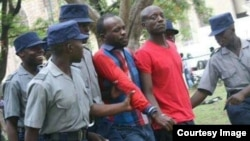 FILE: Occupy Africa Leaders Itai Dzamara (left) and Tichaona Danho (right) detained by police