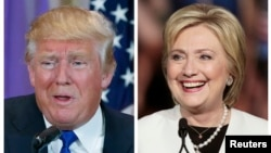 FILE - Republican U.S. presidential candidate Donald Trump (l), in Palm Beach, Fla., and Democratic presidential candidate Hillary Clinton in Miami, at their respective Super Tuesday campaign events, March 1, 2016.