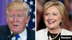 Hai ứng cử viên tổng thống đang dẫn đầu, Donald Trump của Đảng Cộng hòa (trái) và Hillary Clinton của Đảng Dân chủ.