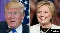 民主党人希拉里·克林顿(右)在佛罗里达州迈阿密,共和党人唐纳德·川普在佛罗里达州棕榈滩分别出席竞选活动。(2016年3月1日)