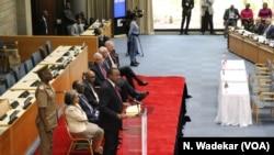 President Uhuru Kenyatta speaks to the AMCHAM delegation about his administration's commitment to ending corruption in Kenya.