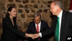 رجب طیب اردغان رئیس جمهور ترکیه در حال مصافحه با انجلینا جولی