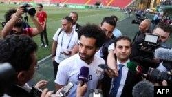 Mohamed Salah lors d'une séance d'entraînement de l'équipe égyptienne au stade Akhmat Arena de Grozny, le 10 juin 2018.