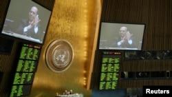 Đại biểu các nước tại Đại hội đồng Liên hiệp quốc thông qua hiệp định quốc tế về buôn bán võ khí quốc tế hôm 2/4/13