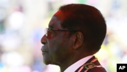 Zimbabwe's President-Elect Robert Mugabe is seen during the country's celebration of Defense Forces Day in Harare, August, 13, 2013.