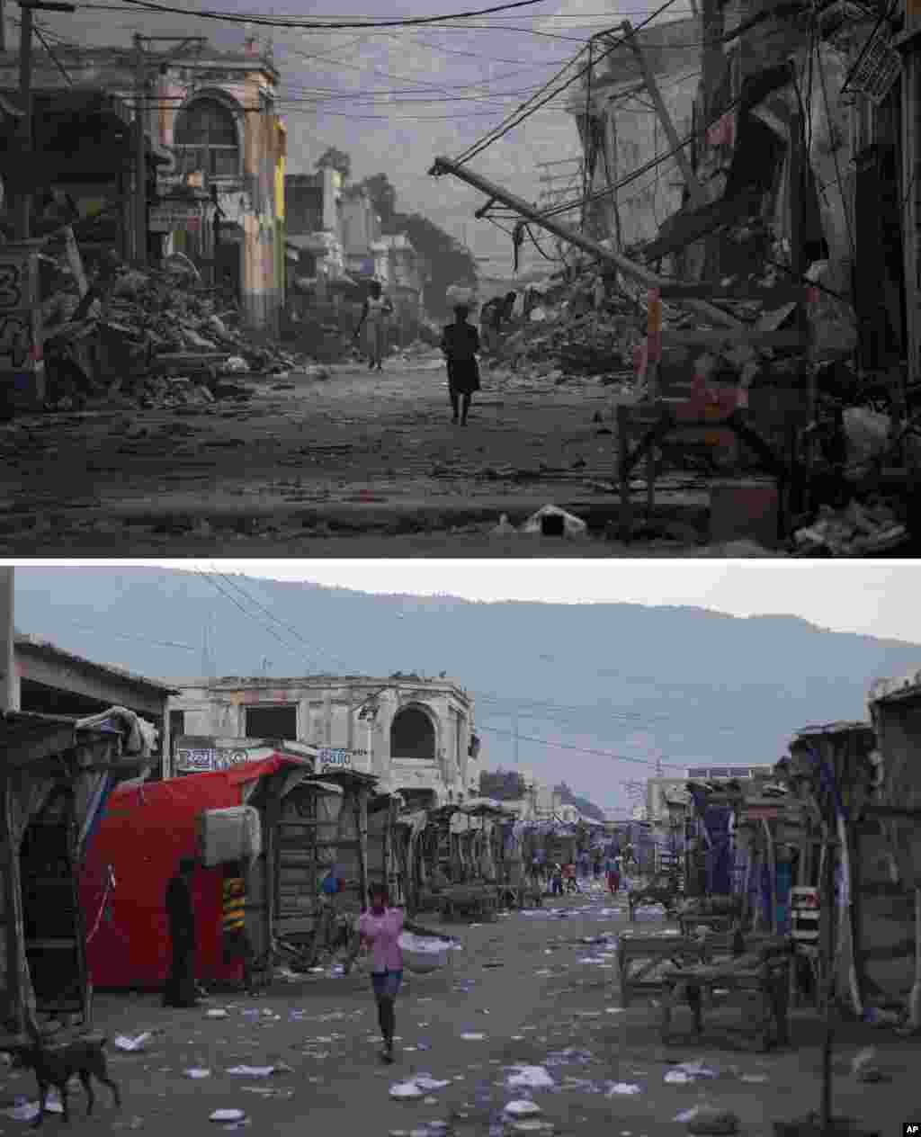 FILE - At top, Jan. 20, 2010, a street devastated by the earthquake that struck one week earlier in Port-au-Prince; below, Jan. 10, 2015, the same location.