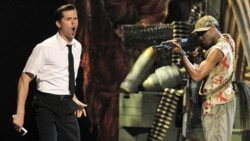 "Andrew Rannells, left, and the cast of ""The Book of Mormon"" perform during the 65th annual Tony Awards, June 12, 2011 in New York"