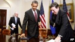 美國總統奧巴馬和歐洲理事會主席範龍佩星期一在白宮