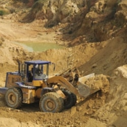 Rare earth mining in Jiangxi, China. To see a chart of world production and Chinese exports, click on Related Links, above