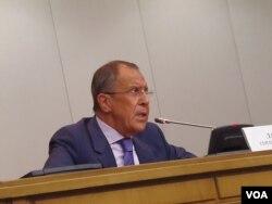 俄罗斯外长拉夫罗夫。(美国之音白桦拍摄)