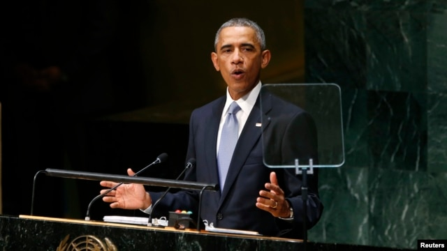 U.S. President Barack Obama addresses the 69th United Nations General Assembly at U.N. headquarters in New York, Sept. 24, 2014.