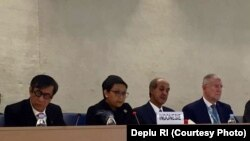 Menteri Luar Negeri Retno Marsudi pada Kajian Universal Periodik di Dewan HAM PBB di Jenewa, Rabu (3/5).