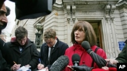 FILE - Gareth Peirce, a human rights lawyer in the defense team for British al-Qaida suspect Haroon Rashid Aswat, speaks to the media outside Bow Street magistrates court in London.