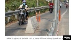 Dải bê tông gây chết người. (Hình: Trích xuất từ trang web vietnamnet.vn)