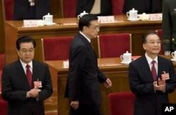 2009年胡锦涛、温家宝和李克强出席中国人大(2009年3月13日)