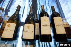 Wine bottles of Domaine de Bargylus are displayed in Beirut, Sept. 3, 2014.