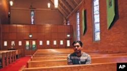 FILE - Francisco Aguirre Velasquez sits at Augustana Lutheran Church in Portland, Oregon, July 6, 2015. Aguirre, an immigrant, took refuge at the church to avoid deportation.
