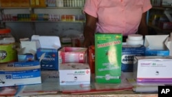 Malaria drugs are seen on display in a privatley owned pharmacy in Blantyre, Malawi (L. Masina/VOA). Seventy percent of malaria drugs are disappearing from medical facilities around the country, a study found.