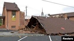 Esta iglesia fue totalmente destruida por un tornado en Kimberly, Alabama.