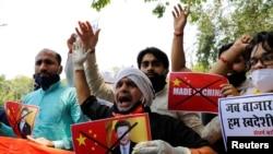 印度抗議者在新德里舉行反對中國的示威活動。(2020年6月17日)