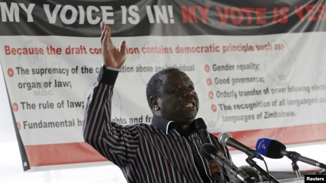 Zimbabwe's Movement for Democratic Change leader and Prime Minister Morgan Tsvangirai speaks in support for the country's draft constitution in Harare, September 8, 2012.
