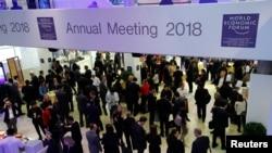 2018年1月24日,在瑞士達沃斯召開的世界經濟論壇年會的與會者。