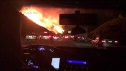 Llamas obligan al cierre de una importante carretera de California