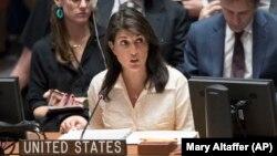 Duta Besar Amerika untuk PBB, Nikki Haley berbicara pada pertemuan DK PBB di New York, Selasa (15/5).