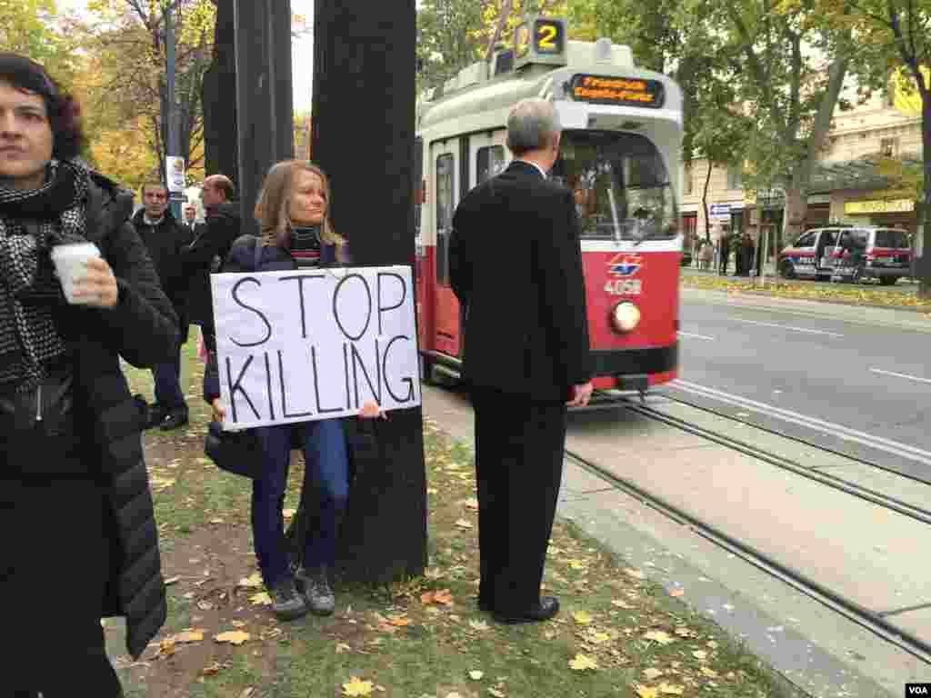 زن اتریشی ناامید از گفتگوهای صلح سوریه با پلاکارد «کشتار را متوفق کنید» ایستاده است. جنگ داخلی سوریه تا کنون بیش از ۲۵۰ هزار کشته برجای گذاشته است.