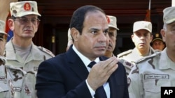FILE - In this photo provided by Egypt's state news agency MENA, President Abdel Fattah el-Sissi speaks in front of the state-run TV in Cairo, Oct. 25, 2014.