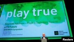 크레이그 리디 세계반도핑기구(WADA) 위원장이 지난해 3월 스위스 로잔에서 열린 학술회에서 연설하고 있다. (자료사진)